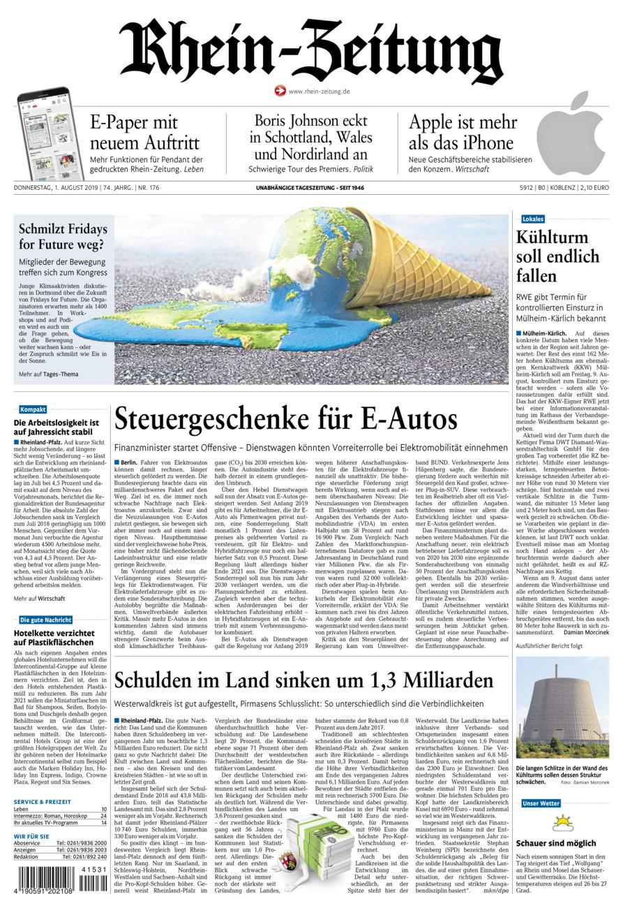 Rhein-Zeitung Koblenz & Region vom Donnerstag, 01.08.2019