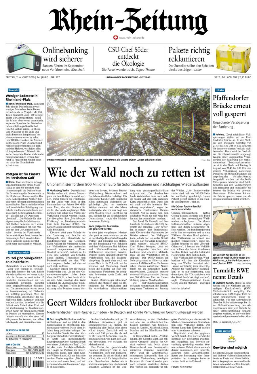 Rhein-Zeitung Koblenz & Region vom Freitag, 02.08.2019