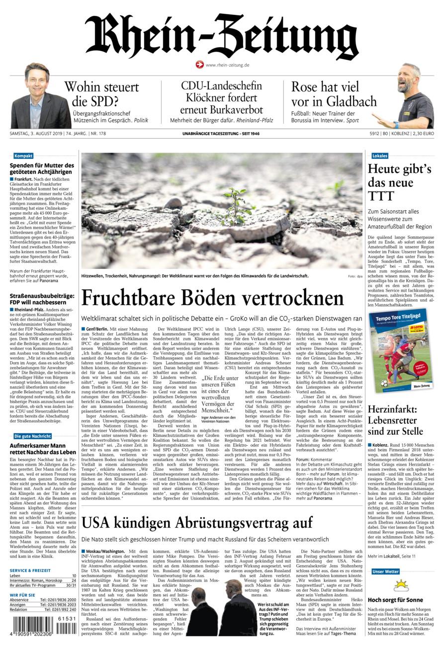 Rhein-Zeitung Koblenz & Region vom Samstag, 03.08.2019