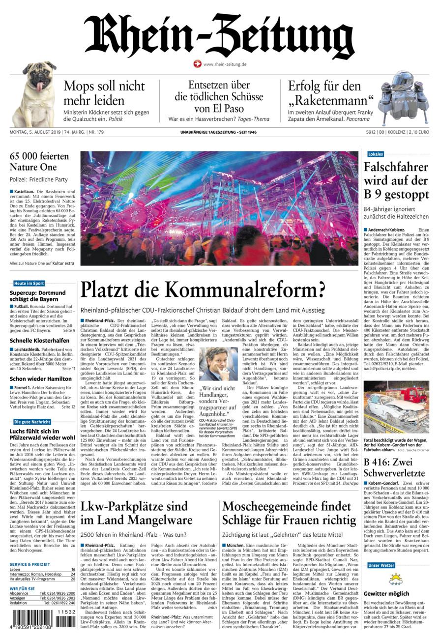Rhein-Zeitung Koblenz & Region vom Montag, 05.08.2019