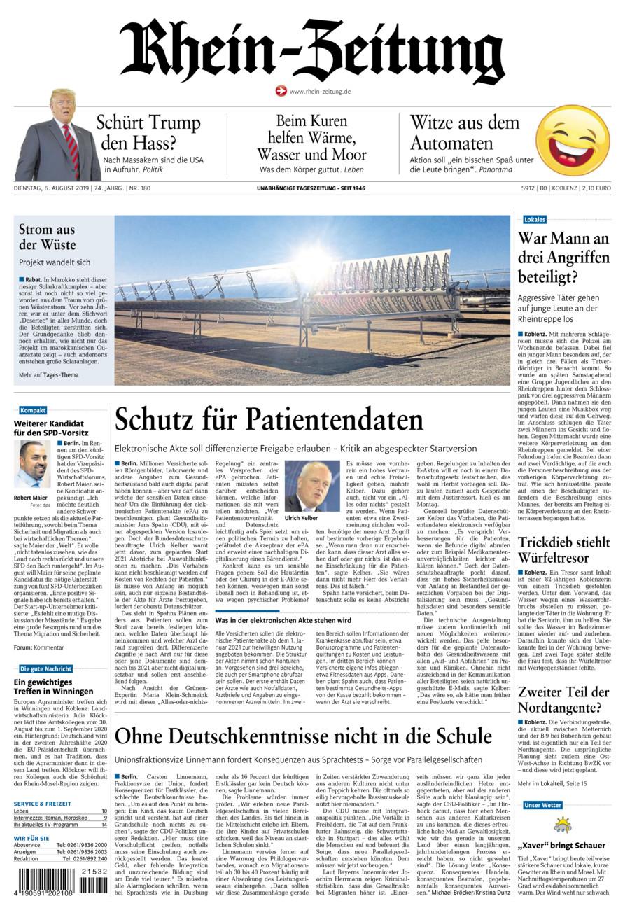 Rhein-Zeitung Koblenz & Region vom Dienstag, 06.08.2019