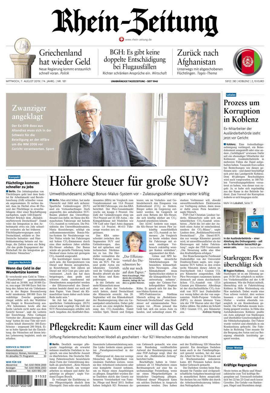 Rhein-Zeitung Koblenz & Region vom Mittwoch, 07.08.2019