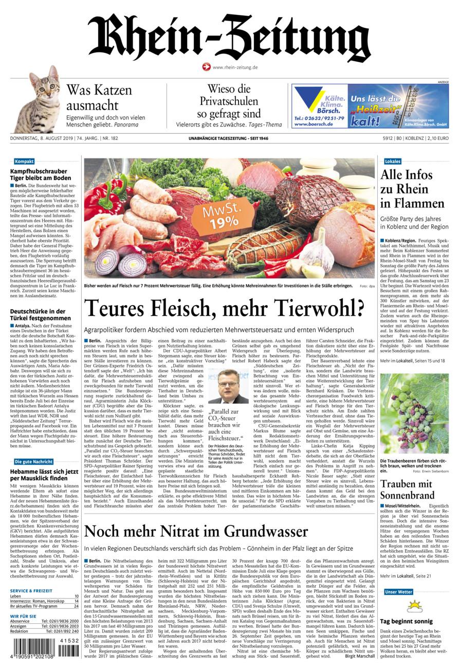 Rhein-Zeitung Koblenz & Region vom Donnerstag, 08.08.2019