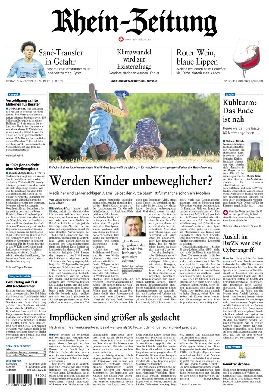 Rhein-Zeitung Koblenz & Region vom Freitag, 09.08.2019