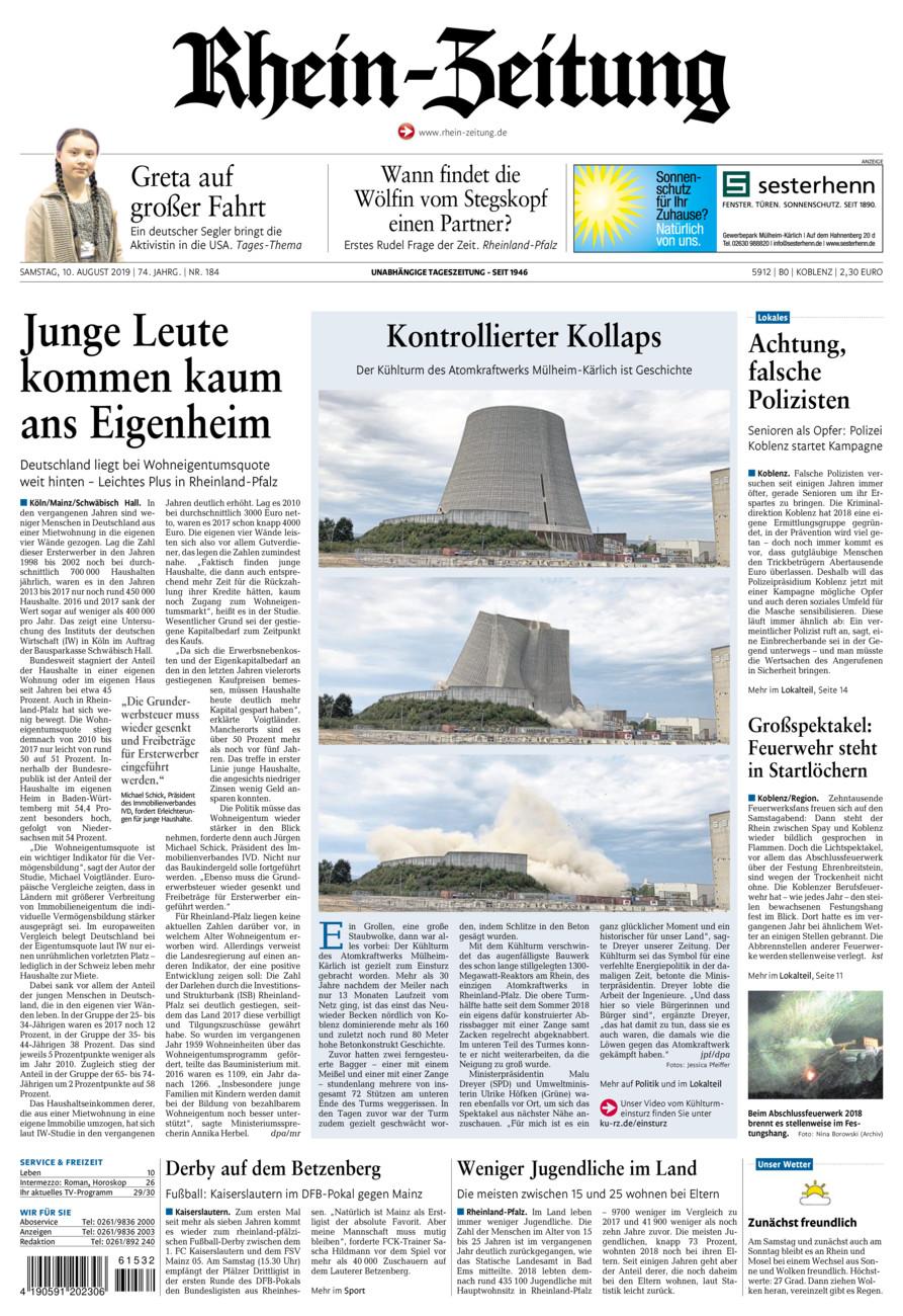 Rhein-Zeitung Koblenz & Region vom Samstag, 10.08.2019