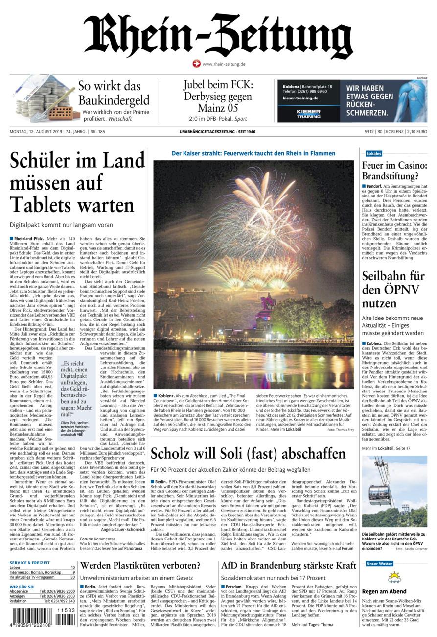 Rhein-Zeitung Koblenz & Region vom Montag, 12.08.2019