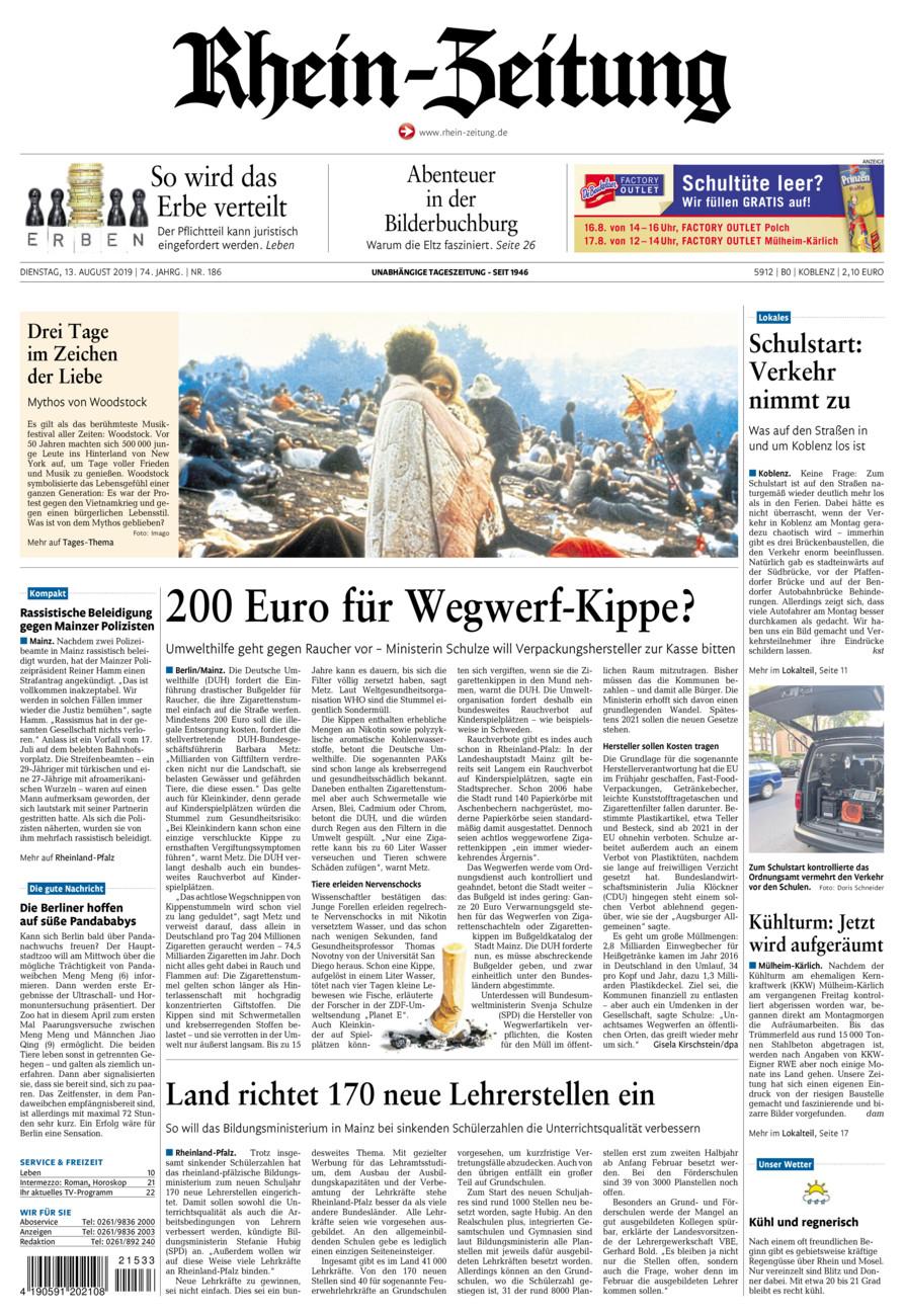 Rhein-Zeitung Koblenz & Region vom Dienstag, 13.08.2019