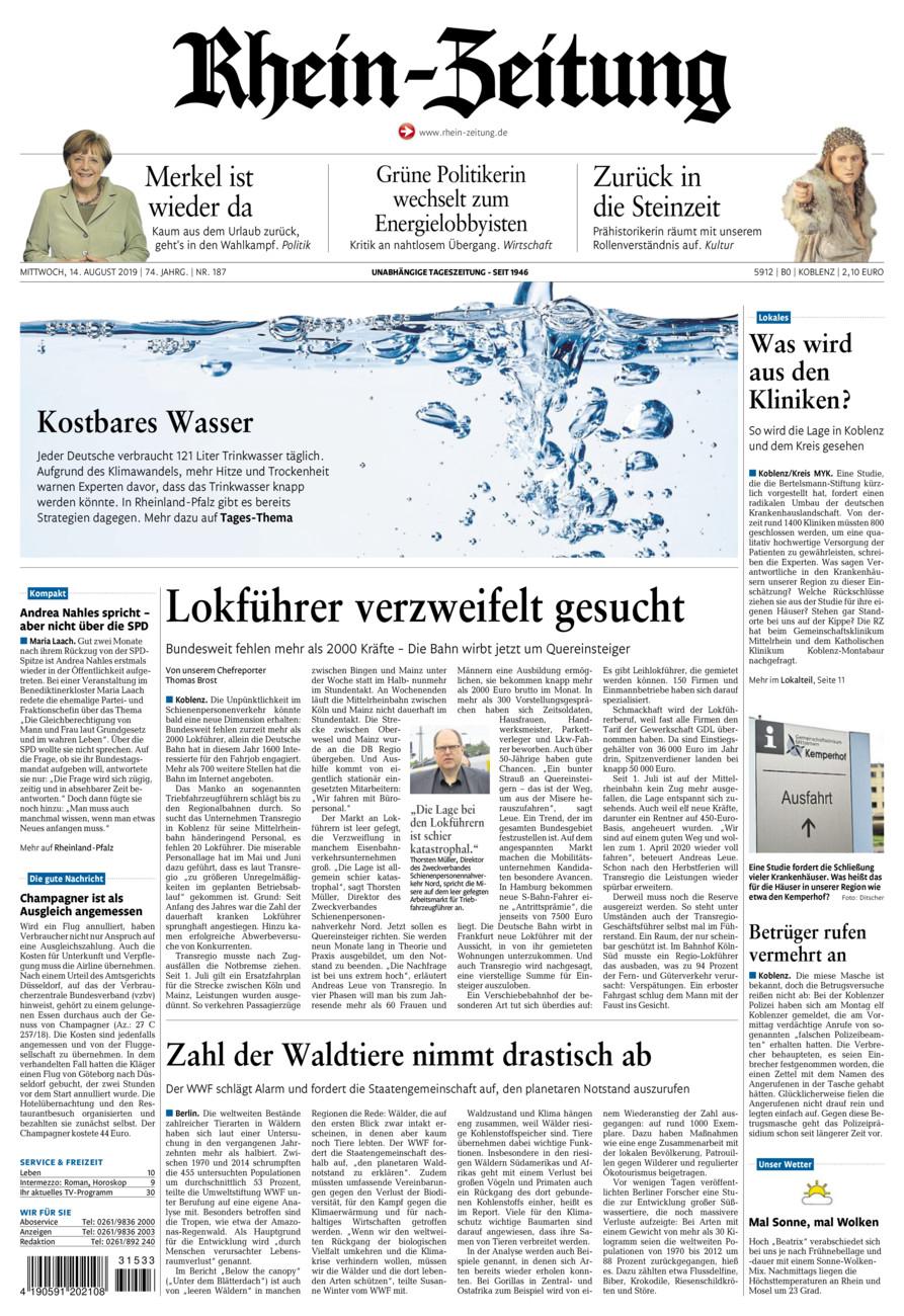 Rhein-Zeitung Koblenz & Region vom Mittwoch, 14.08.2019