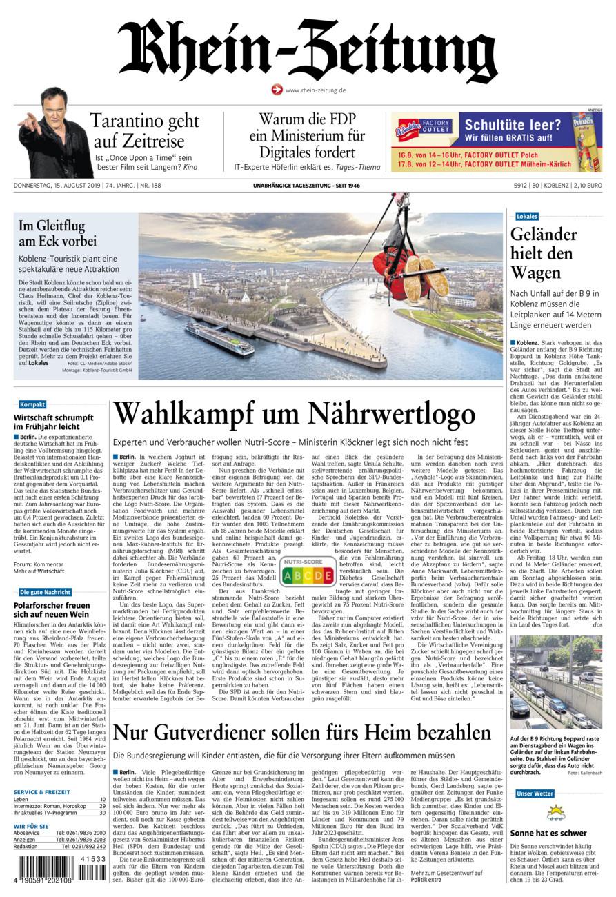 Rhein-Zeitung Koblenz & Region vom Donnerstag, 15.08.2019