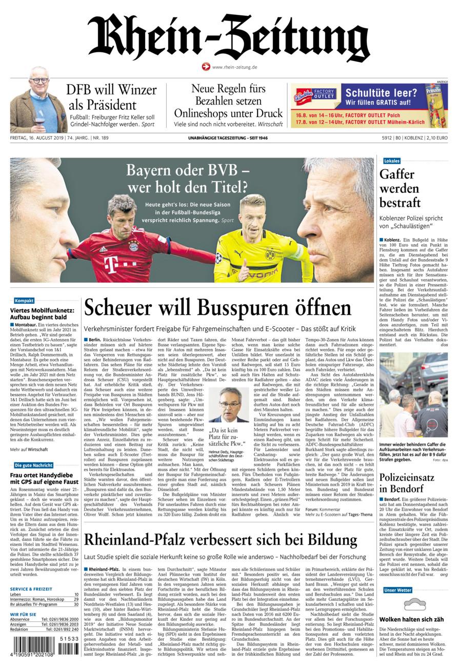 Rhein-Zeitung Koblenz & Region vom Freitag, 16.08.2019