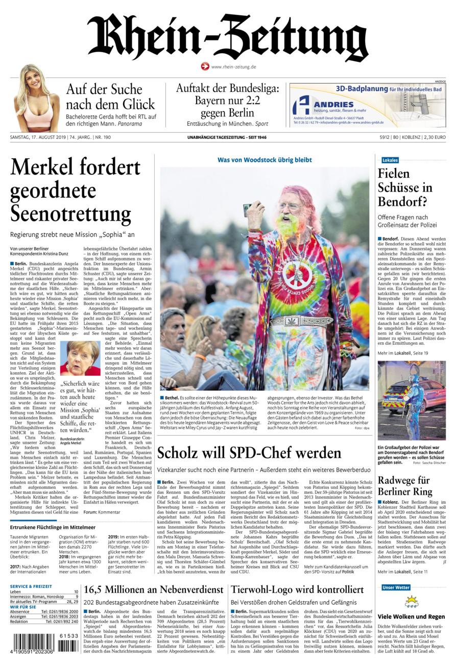 Rhein-Zeitung Koblenz & Region vom Samstag, 17.08.2019