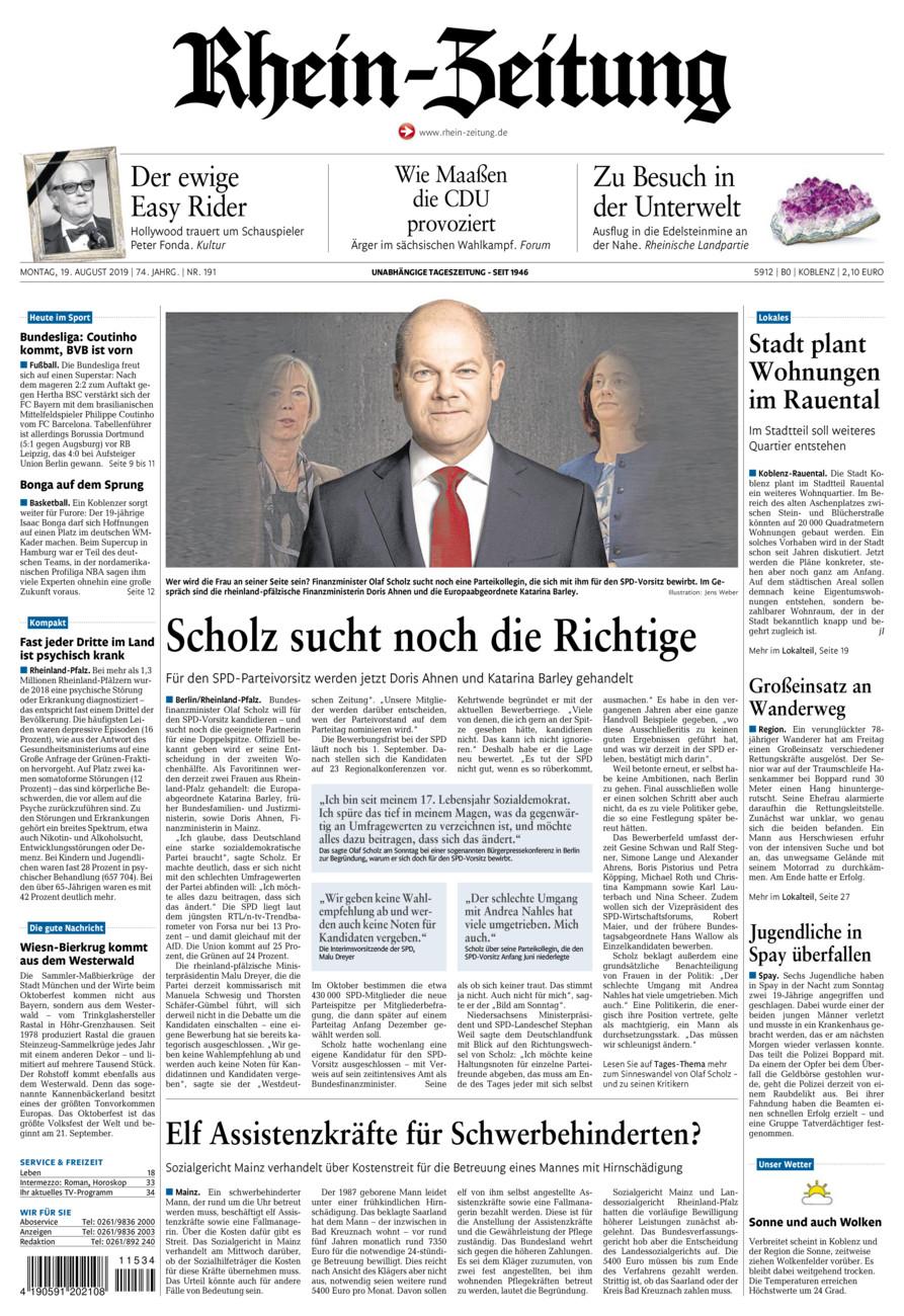 Rhein-Zeitung Koblenz & Region vom Montag, 19.08.2019