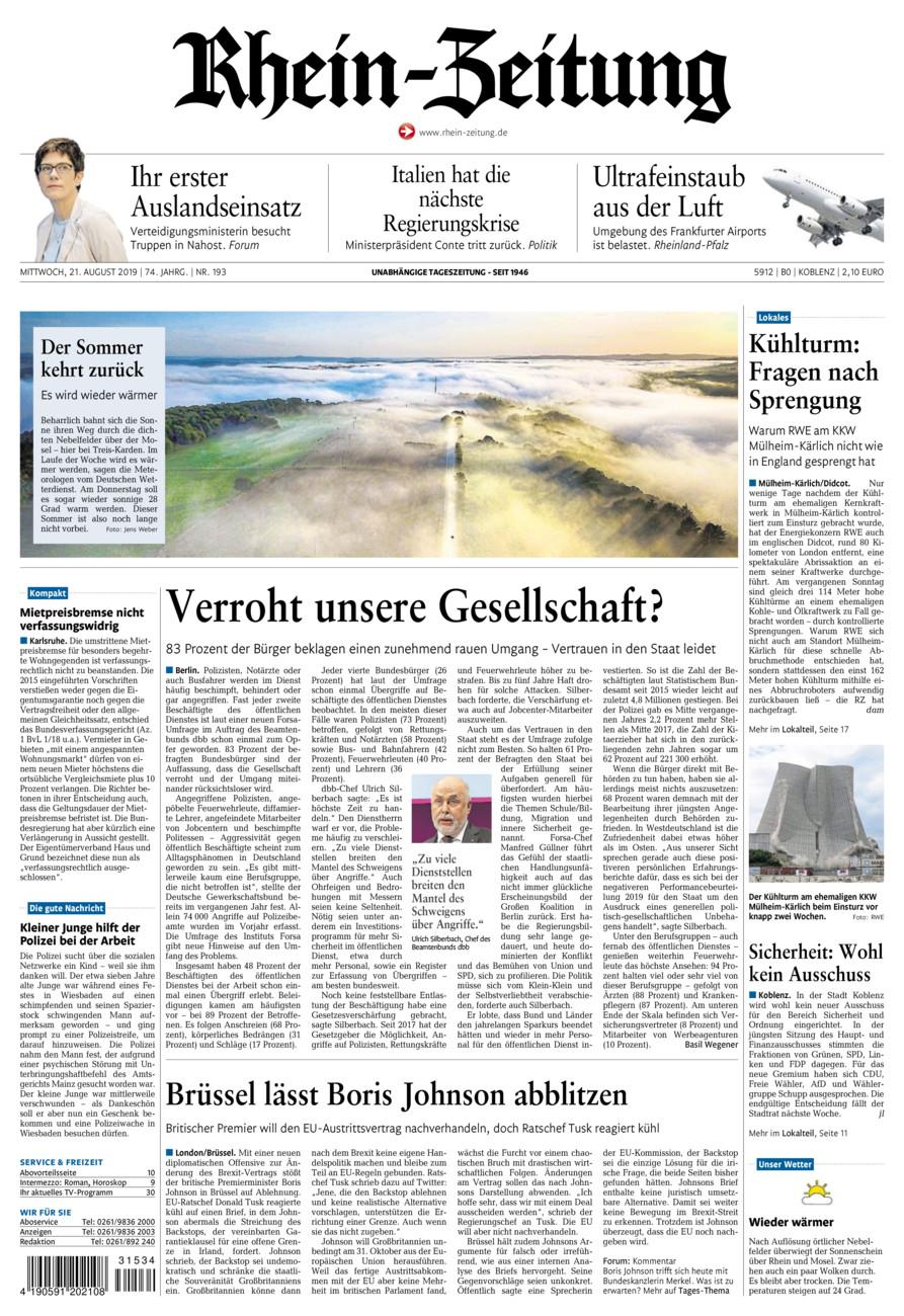 Rhein-Zeitung Koblenz & Region vom Mittwoch, 21.08.2019