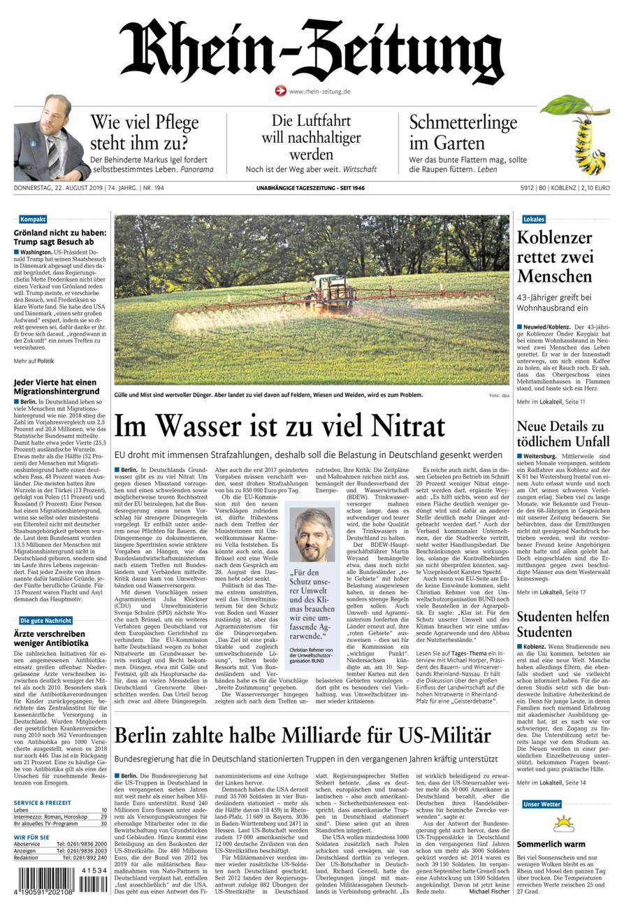 Rhein-Zeitung Koblenz & Region vom Donnerstag, 22.08.2019