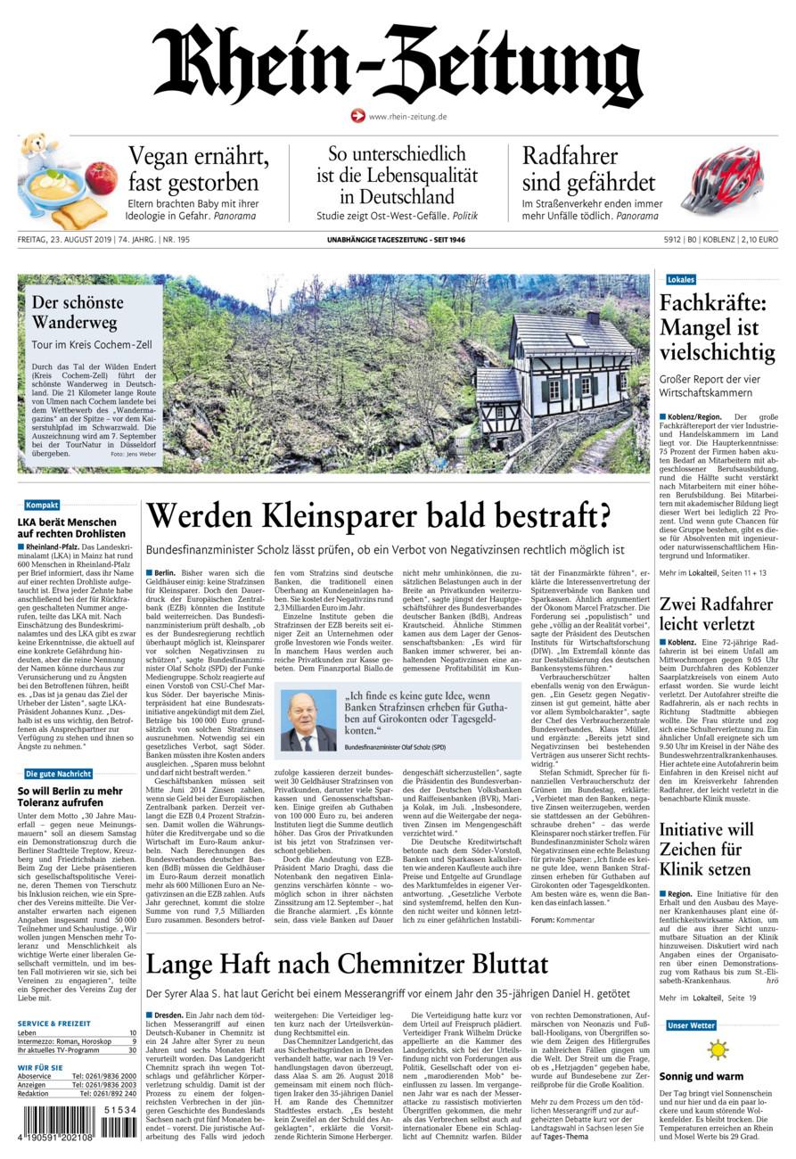 Rhein-Zeitung Koblenz & Region vom Freitag, 23.08.2019