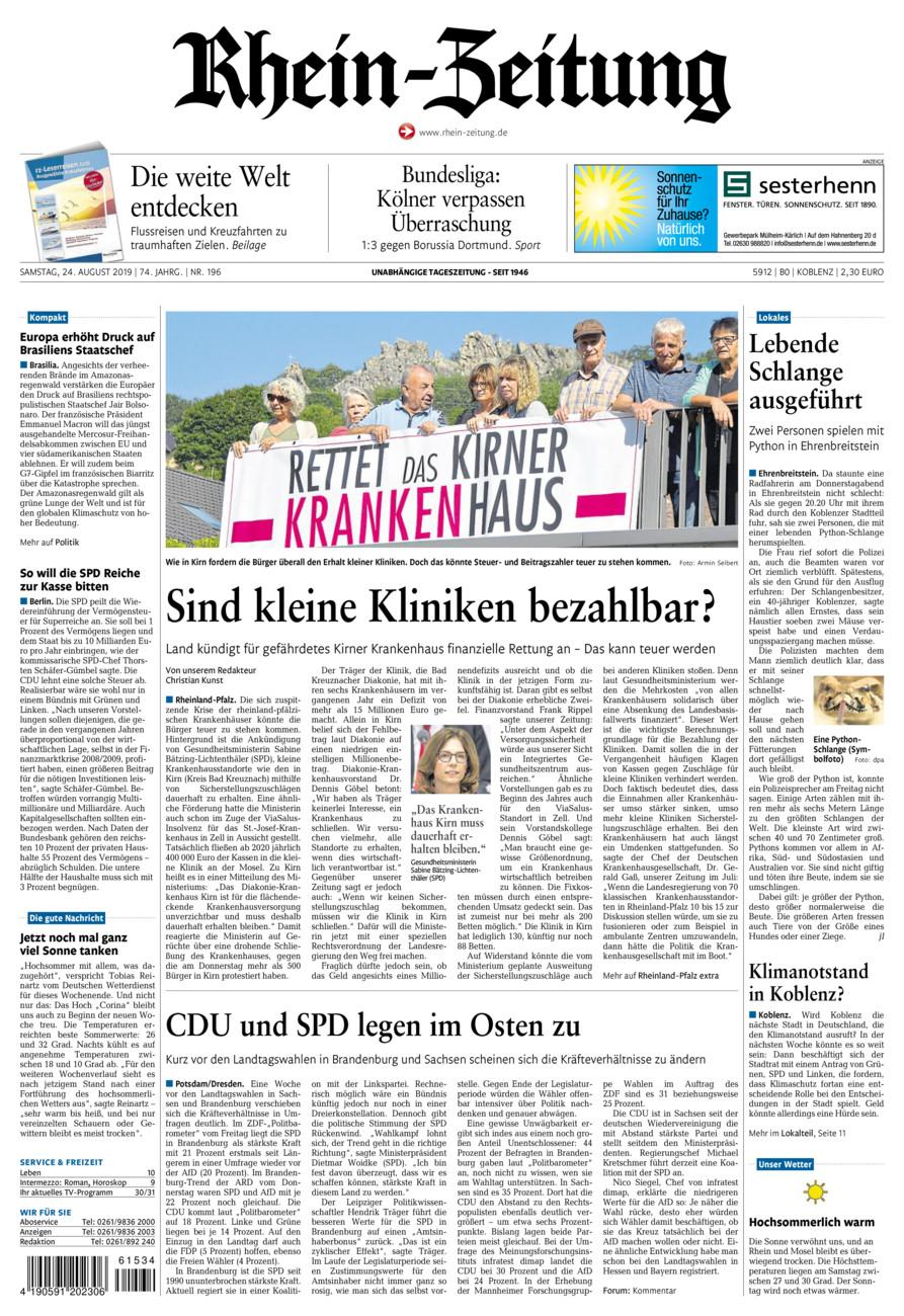 Rhein-Zeitung Koblenz & Region vom Samstag, 24.08.2019