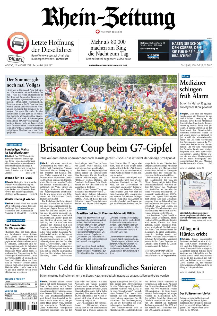 Rhein-Zeitung Koblenz & Region vom Montag, 26.08.2019