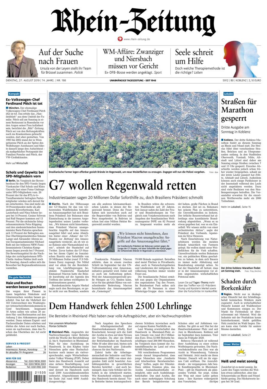 Rhein-Zeitung Koblenz & Region vom Dienstag, 27.08.2019