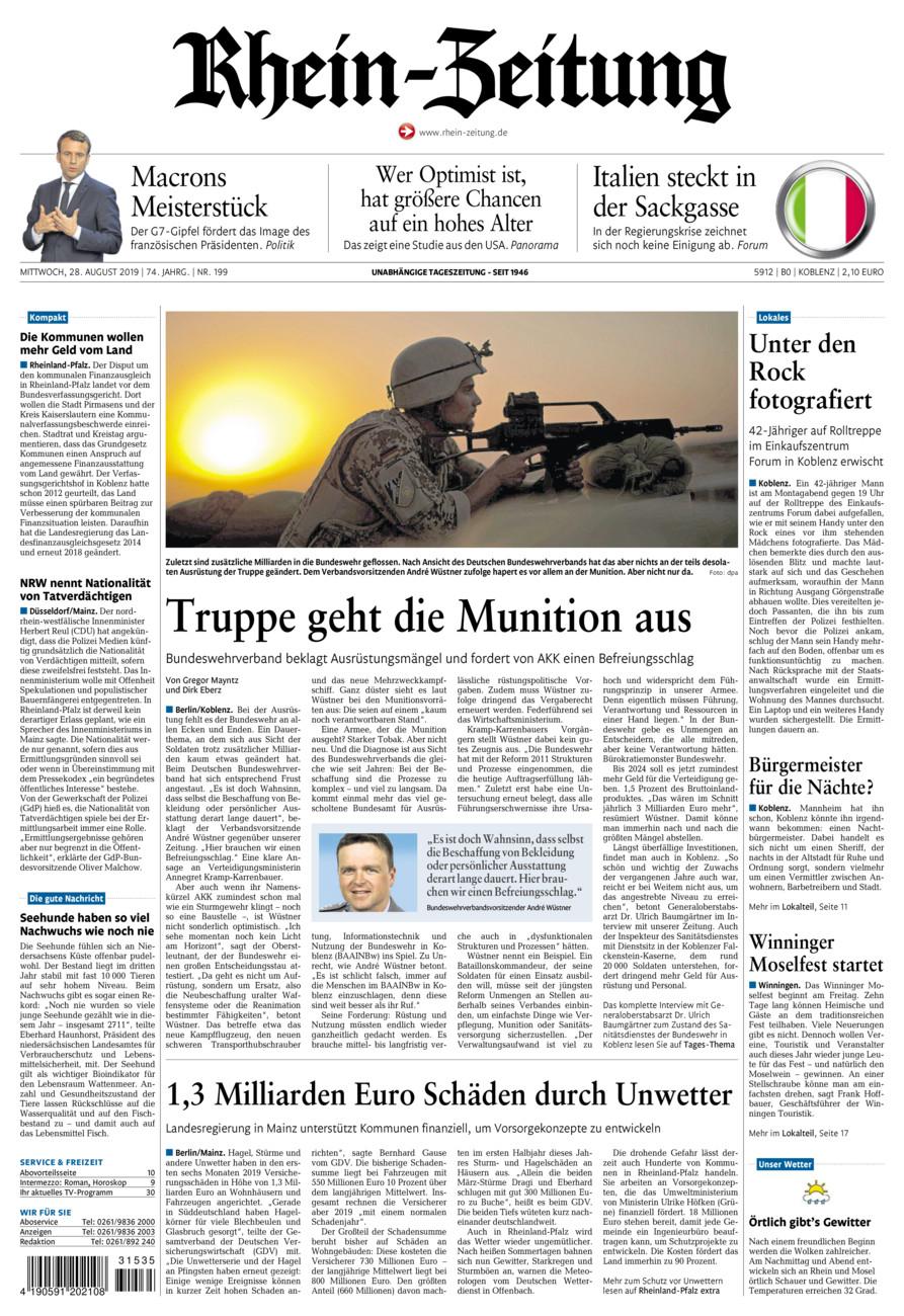 Rhein-Zeitung Koblenz & Region vom Mittwoch, 28.08.2019
