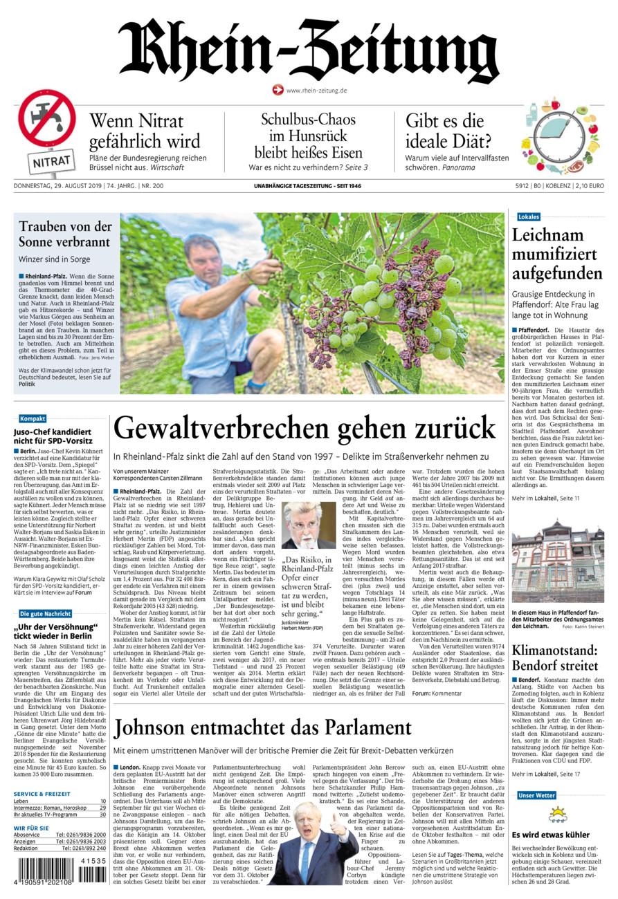 Rhein-Zeitung Koblenz & Region vom Donnerstag, 29.08.2019