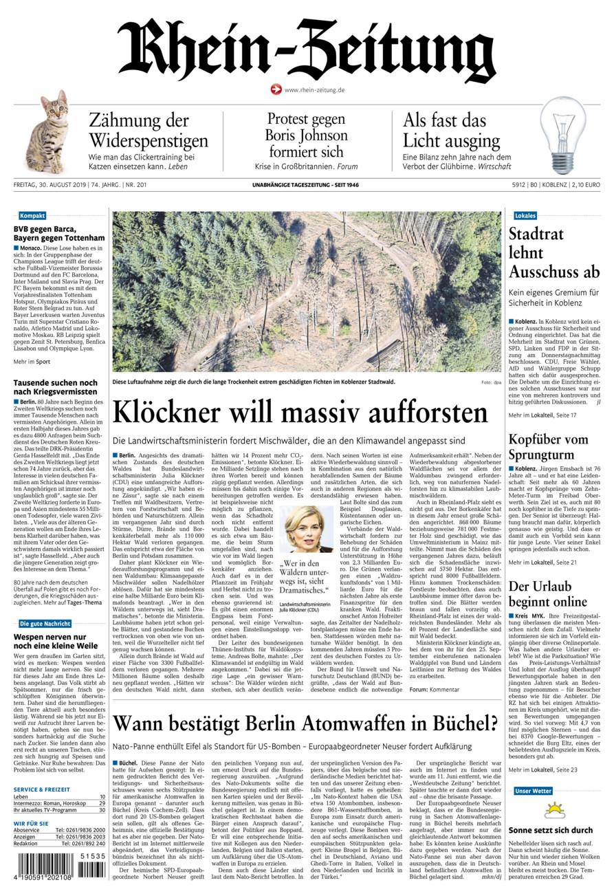 Rhein-Zeitung Koblenz & Region vom Freitag, 30.08.2019