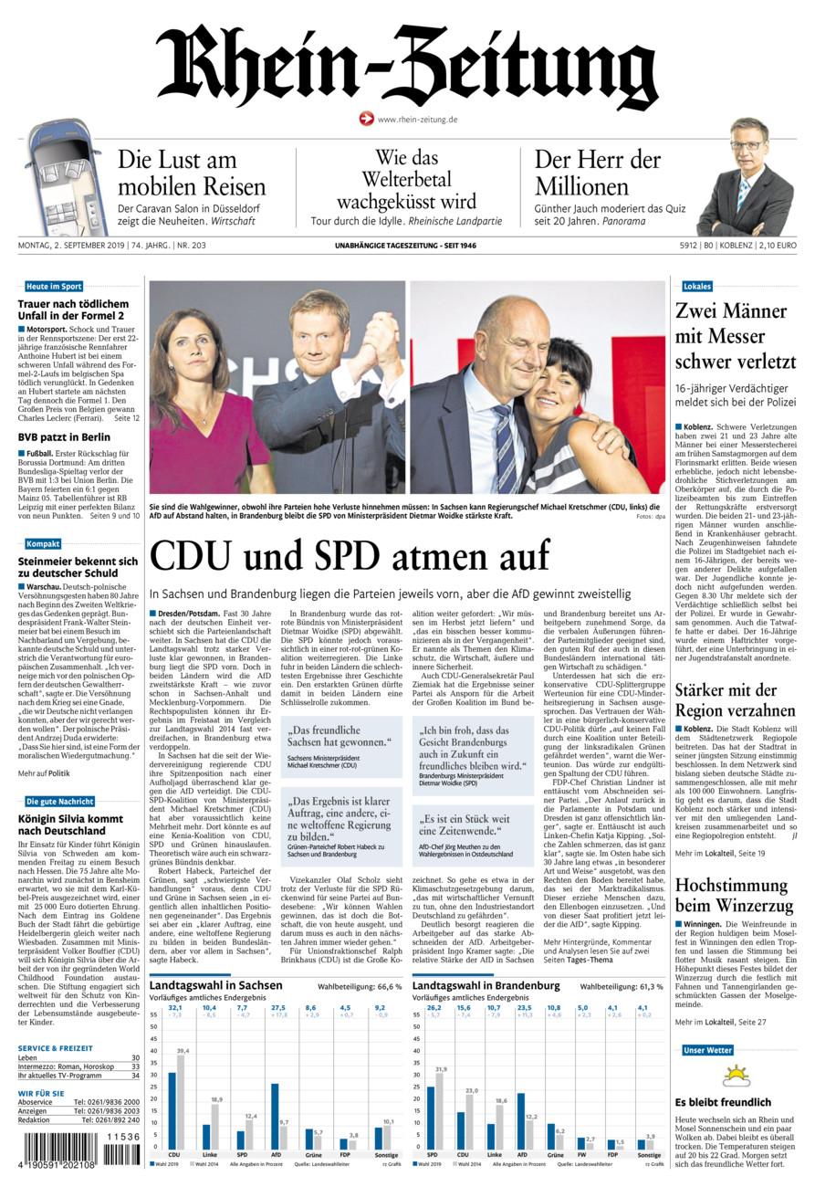 Rhein-Zeitung Koblenz & Region vom Montag, 02.09.2019