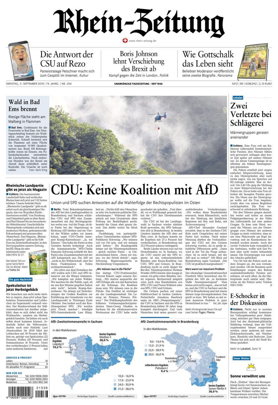 Rhein-Zeitung Koblenz & Region vom Dienstag, 03.09.2019