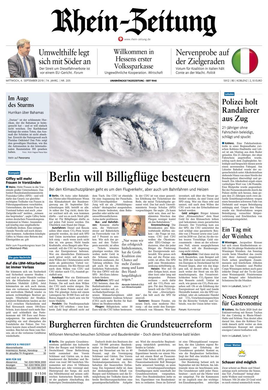 Rhein-Zeitung Koblenz & Region vom Mittwoch, 04.09.2019