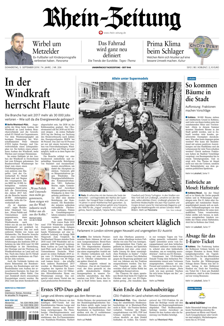 Rhein-Zeitung Koblenz & Region vom Donnerstag, 05.09.2019