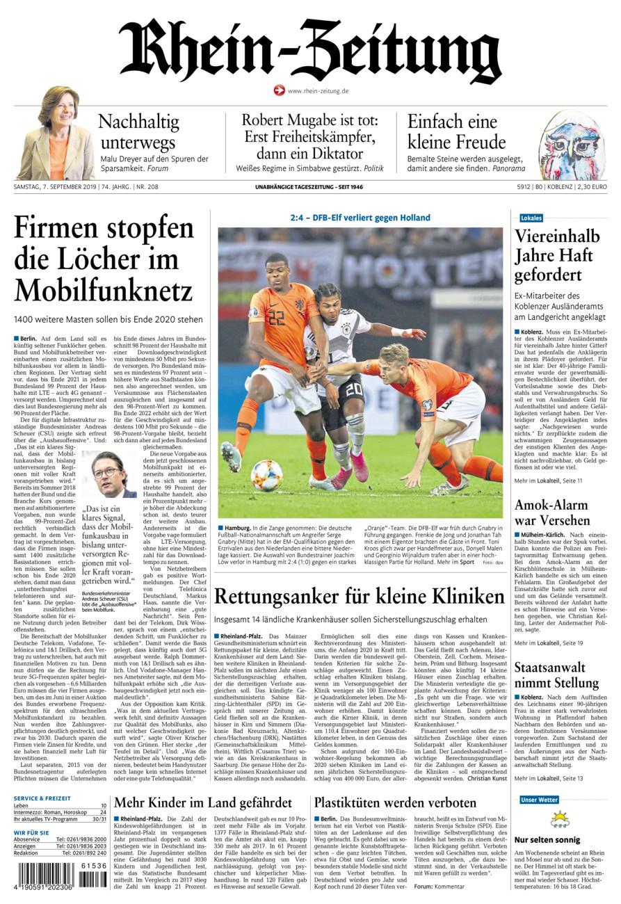 Rhein-Zeitung Koblenz & Region vom Samstag, 07.09.2019