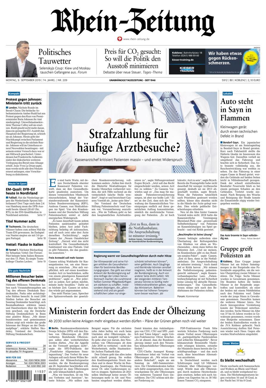 Rhein-Zeitung Koblenz & Region vom Montag, 09.09.2019