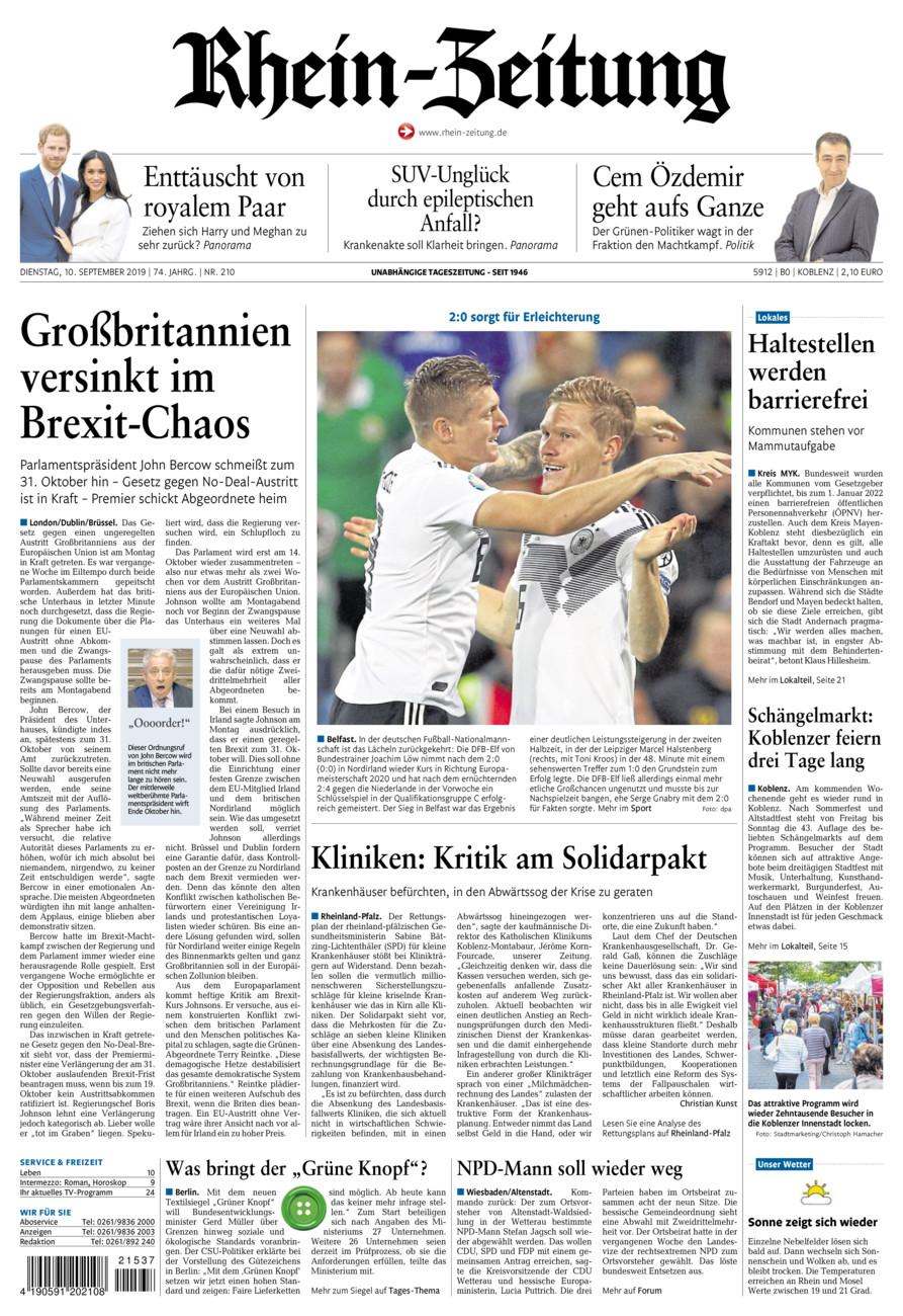 Rhein-Zeitung Koblenz & Region vom Dienstag, 10.09.2019