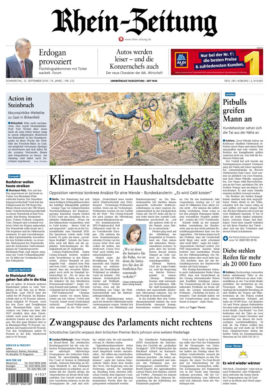 Rhein-Zeitung Koblenz & Region vom Donnerstag, 12.09.2019