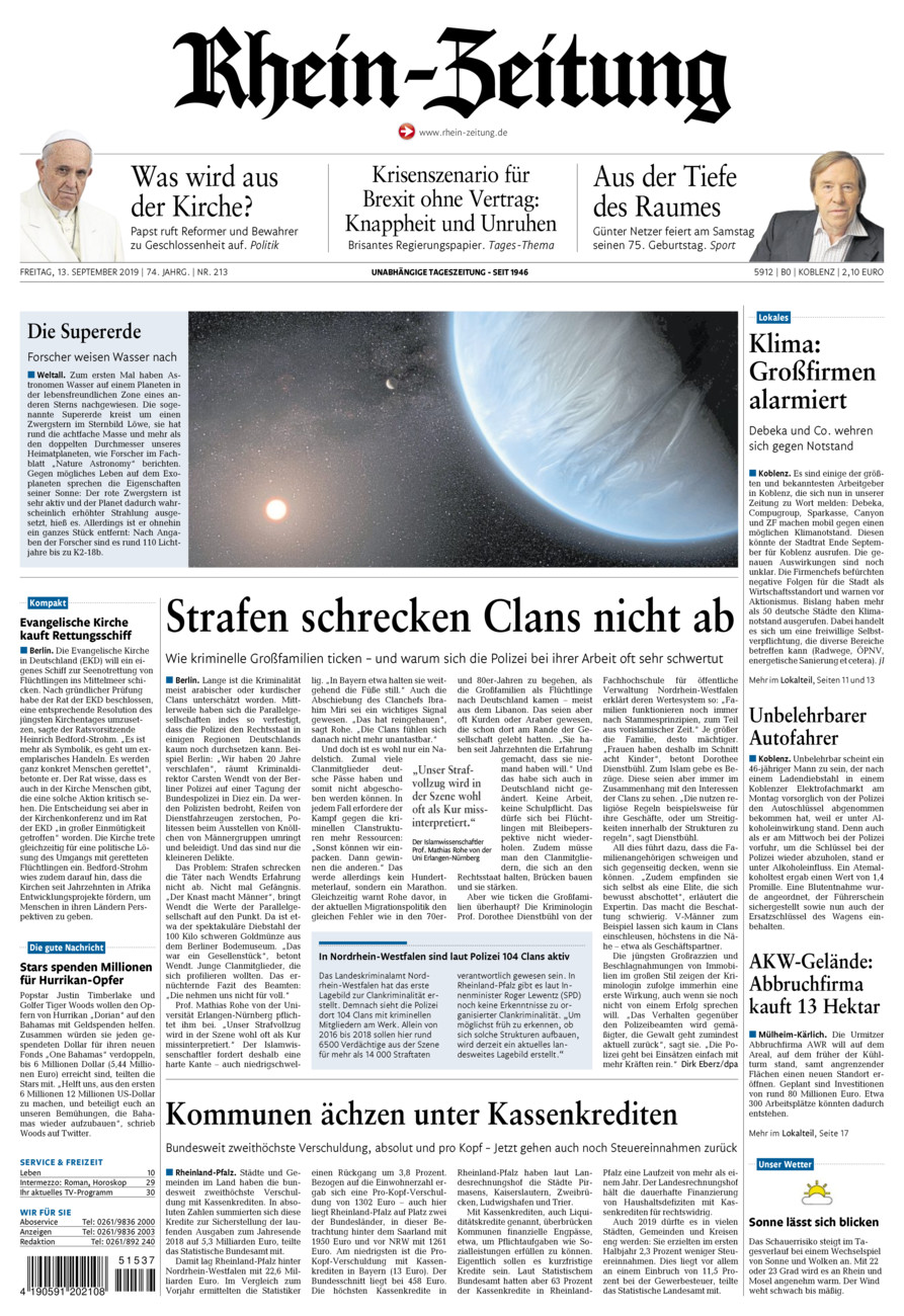 Rhein-Zeitung Koblenz & Region vom Freitag, 13.09.2019
