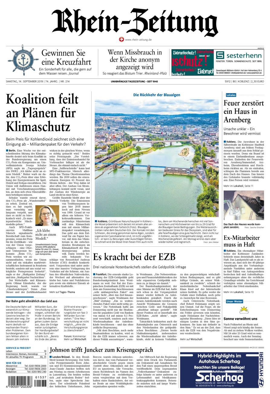 Rhein-Zeitung Koblenz & Region vom Samstag, 14.09.2019