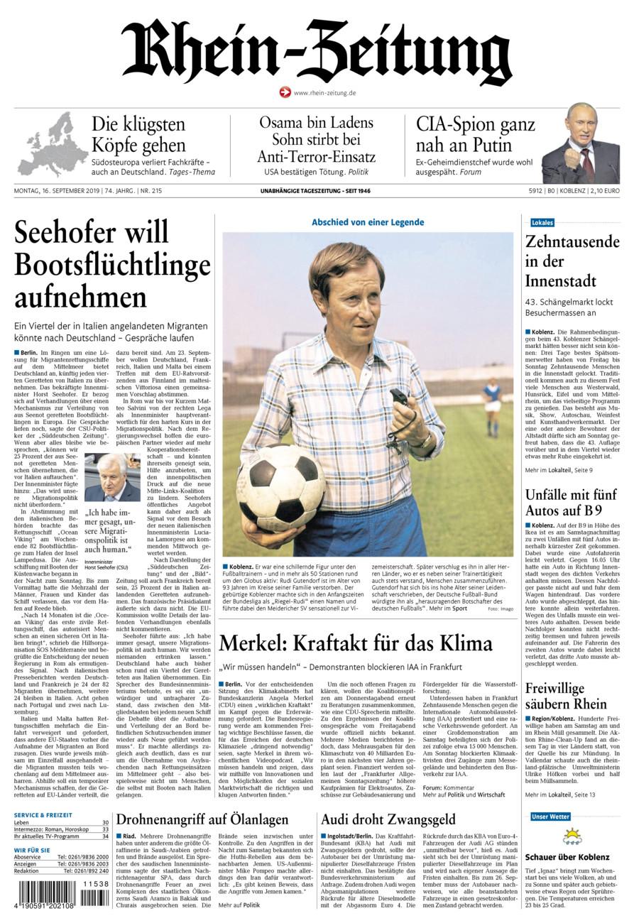 Rhein-Zeitung Koblenz & Region vom Montag, 16.09.2019