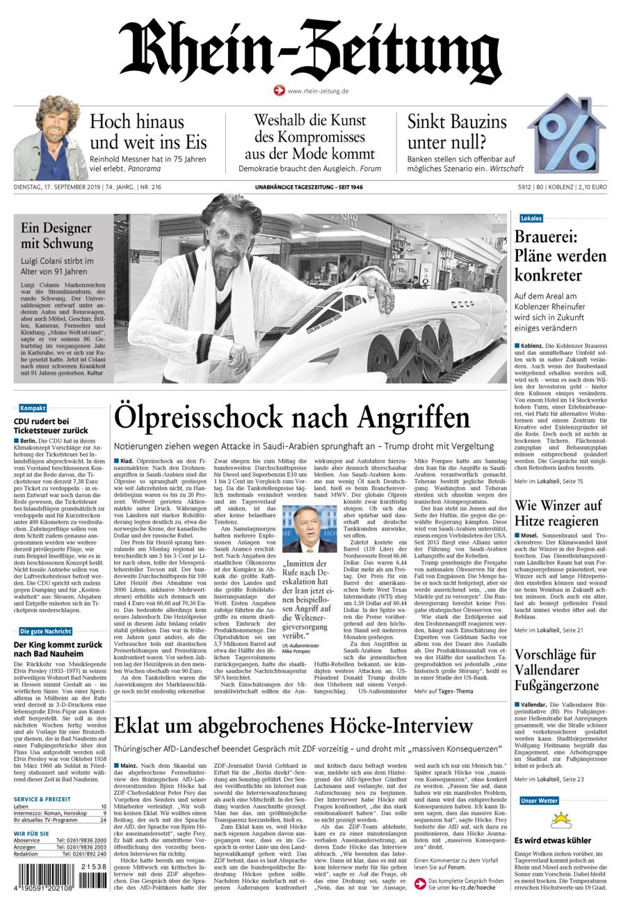 Rhein-Zeitung Koblenz & Region vom Dienstag, 17.09.2019