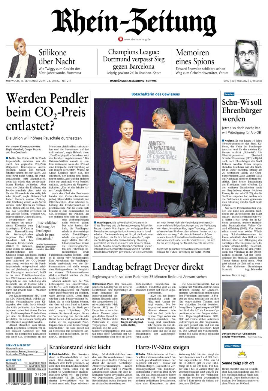 Rhein-Zeitung Koblenz & Region vom Mittwoch, 18.09.2019