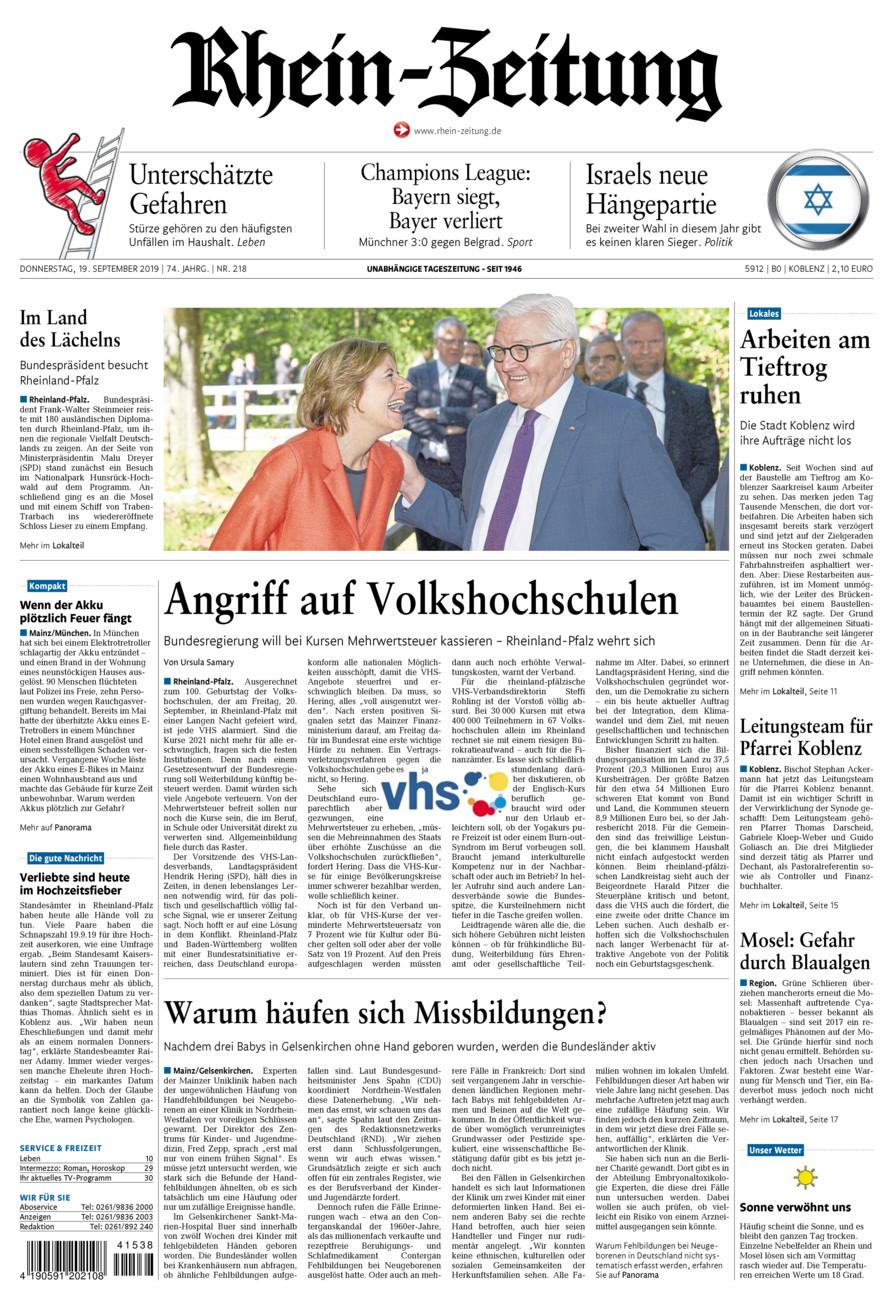 Rhein-Zeitung Koblenz & Region vom Donnerstag, 19.09.2019