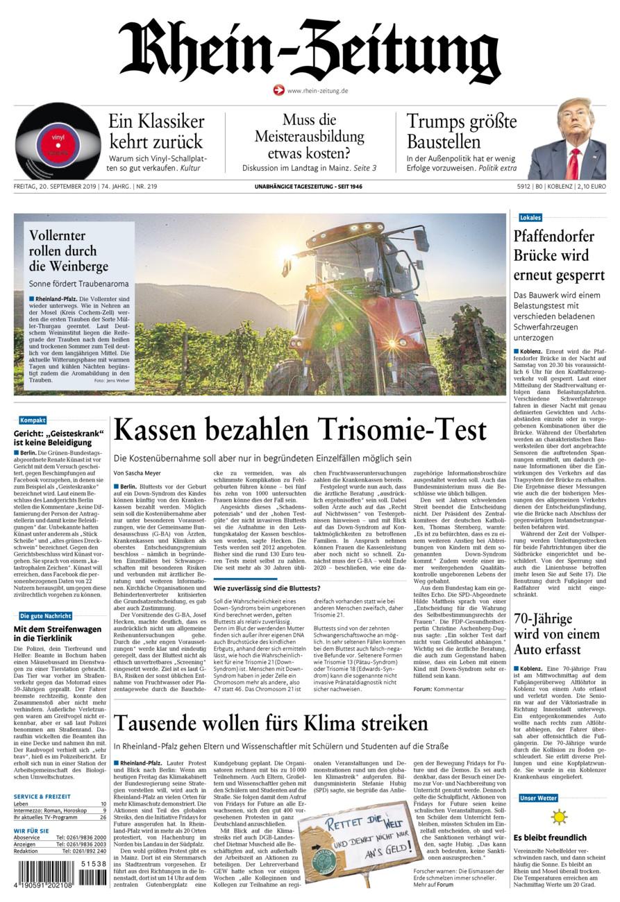 Rhein-Zeitung Koblenz & Region vom Freitag, 20.09.2019