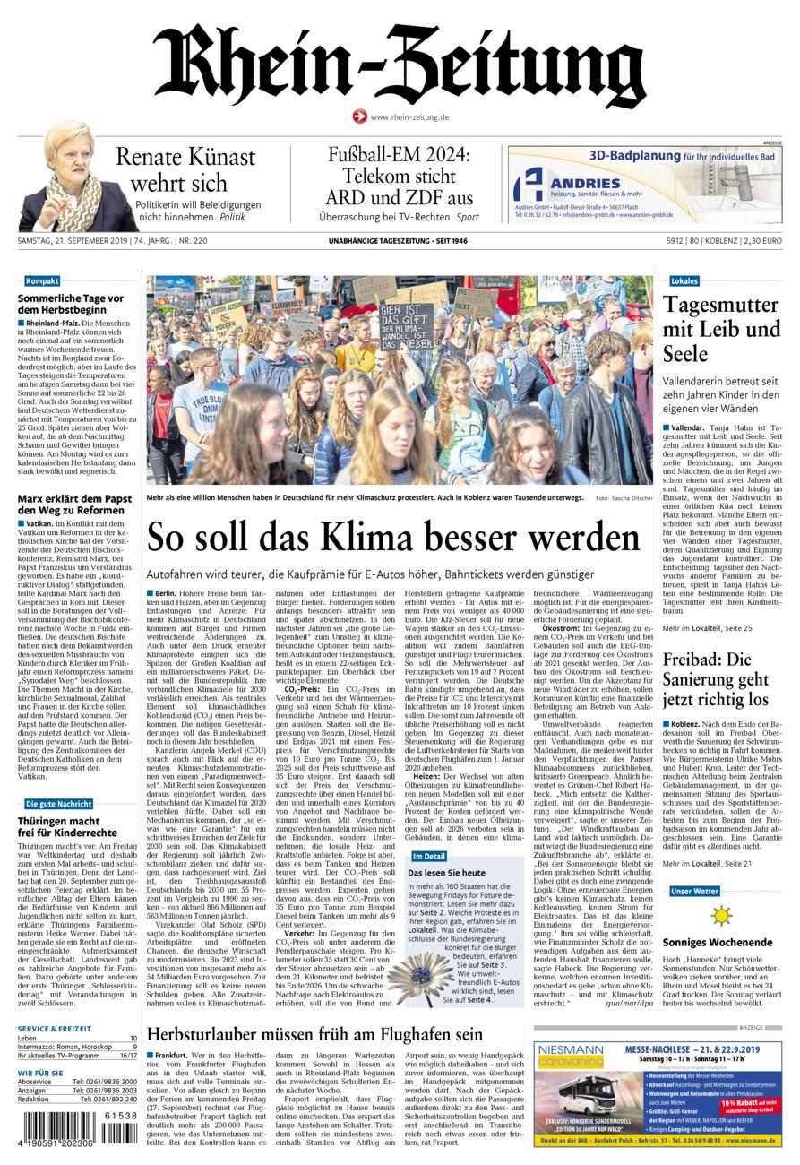 Rhein-Zeitung Koblenz & Region vom Samstag, 21.09.2019