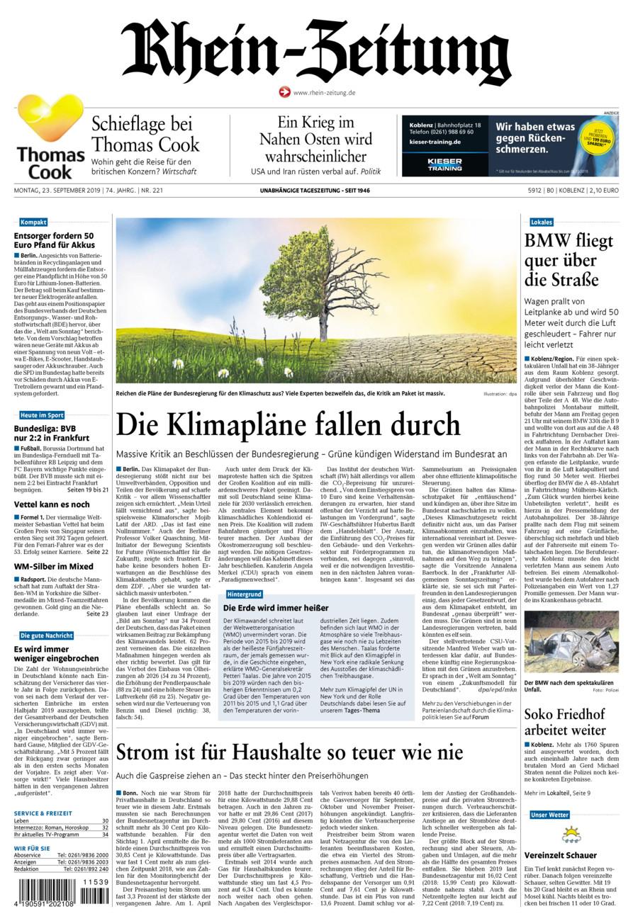 Rhein-Zeitung Koblenz & Region vom Montag, 23.09.2019