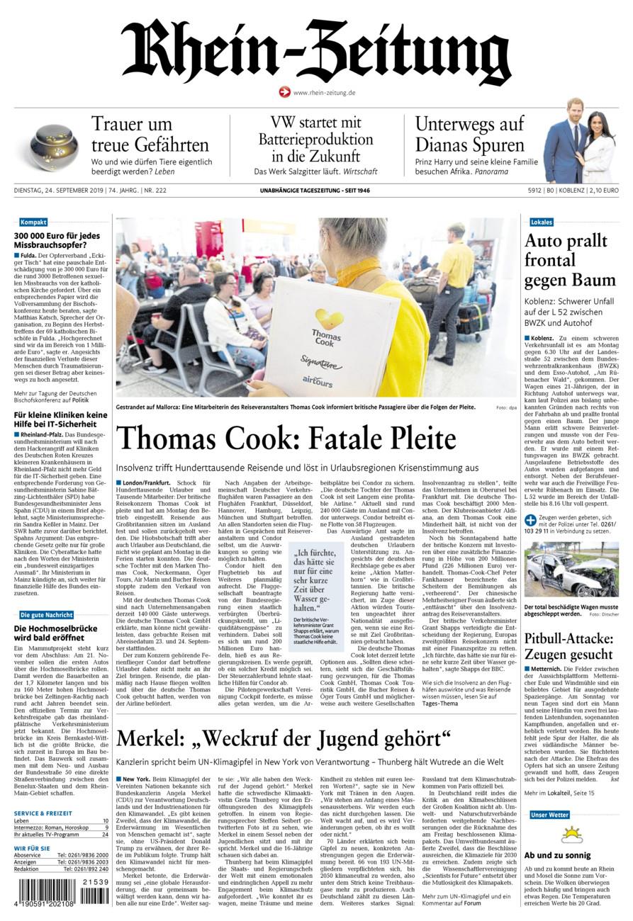 Rhein-Zeitung Koblenz & Region vom Dienstag, 24.09.2019