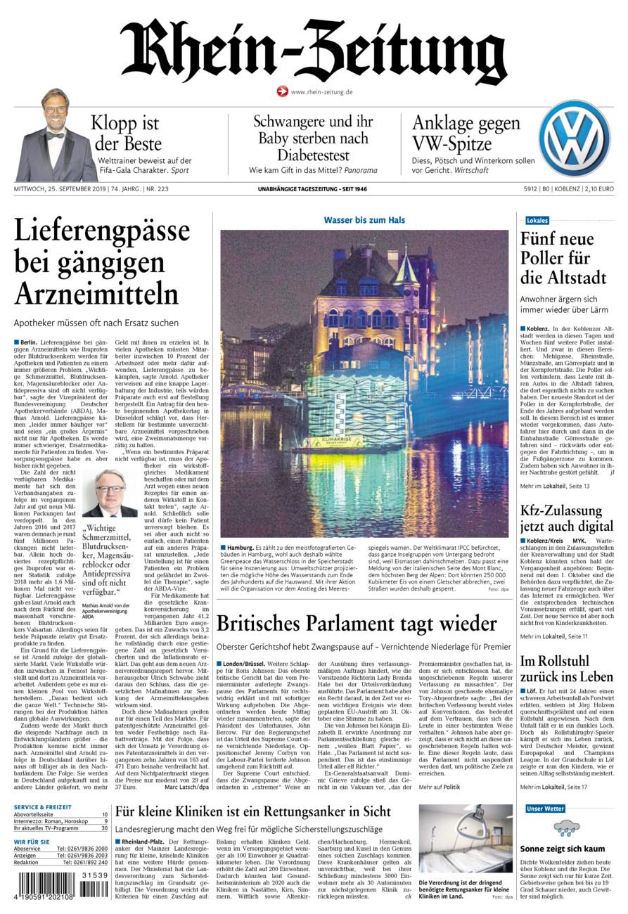 Rhein-Zeitung Koblenz & Region vom Mittwoch, 25.09.2019