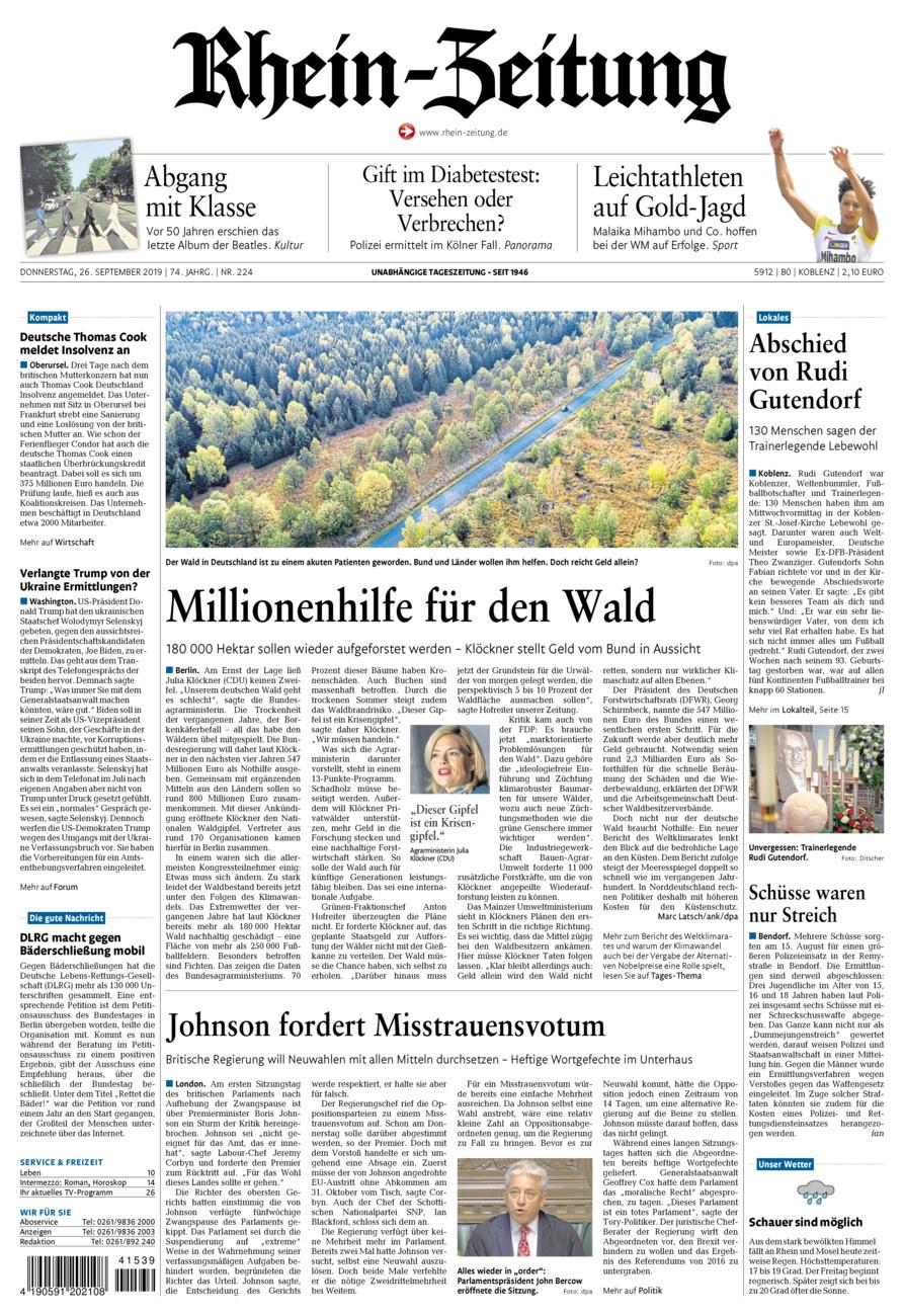 Rhein-Zeitung Koblenz & Region vom Donnerstag, 26.09.2019