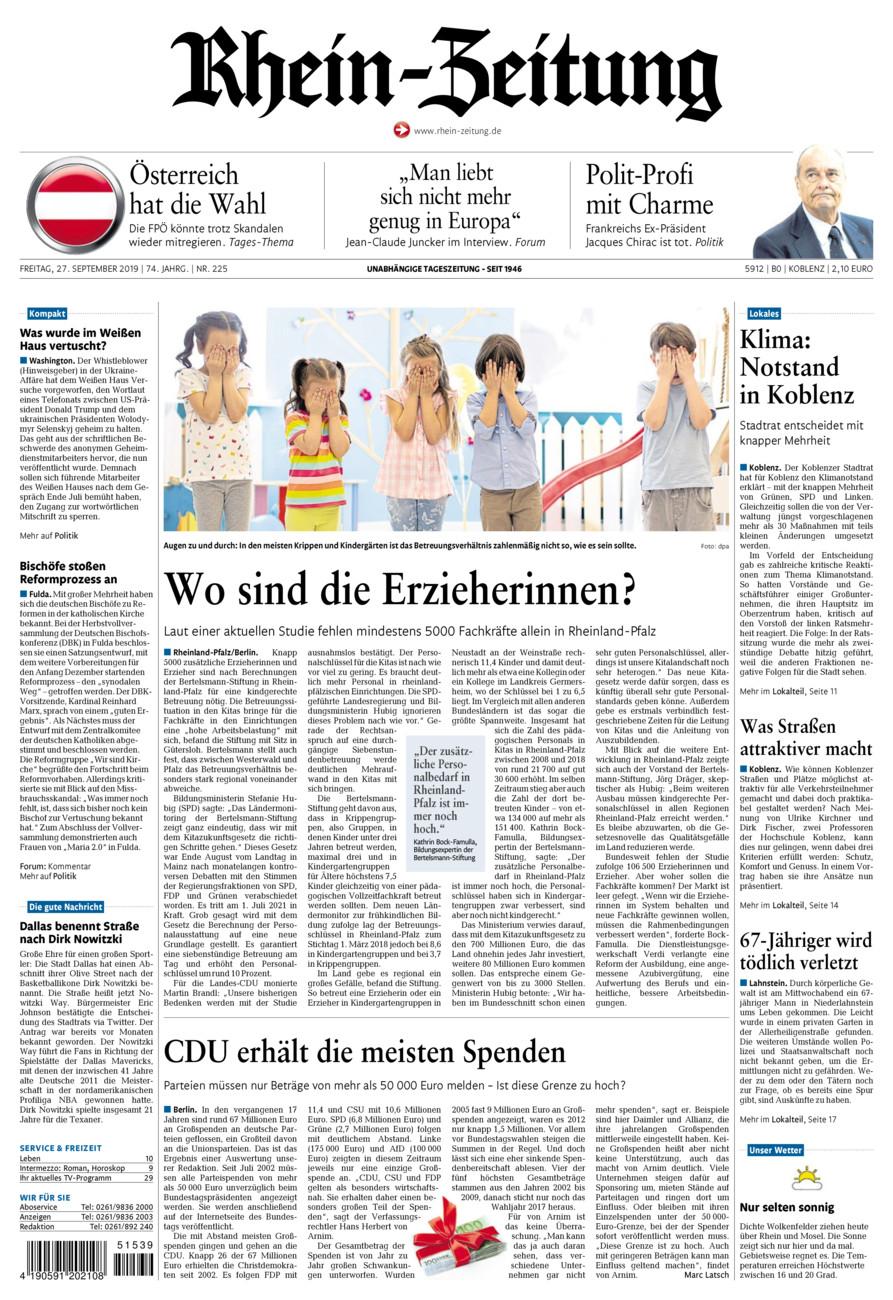 Rhein-Zeitung Koblenz & Region vom Freitag, 27.09.2019