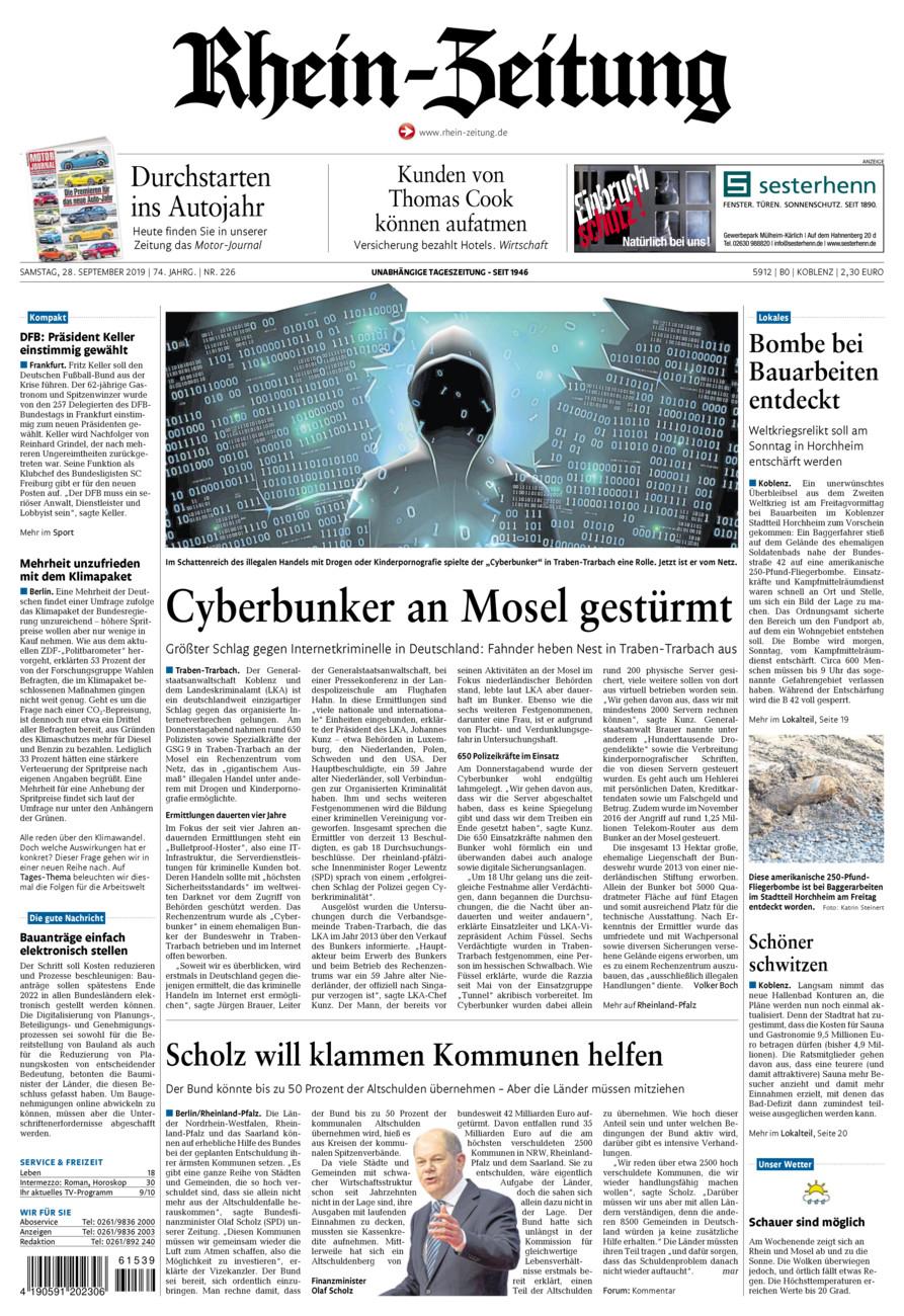 Rhein-Zeitung Koblenz & Region vom Samstag, 28.09.2019