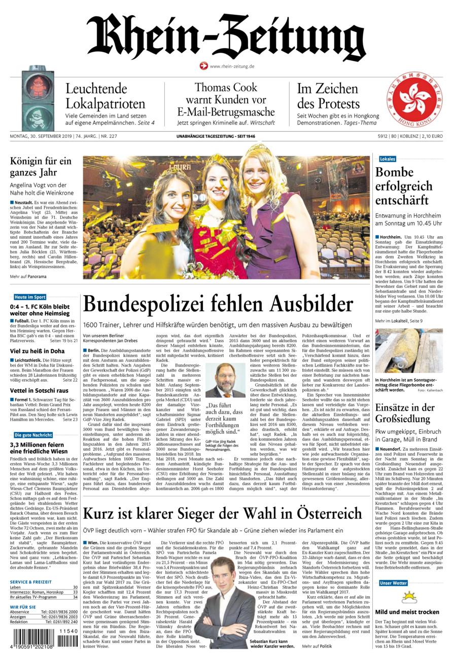 Rhein-Zeitung Koblenz & Region vom Montag, 30.09.2019
