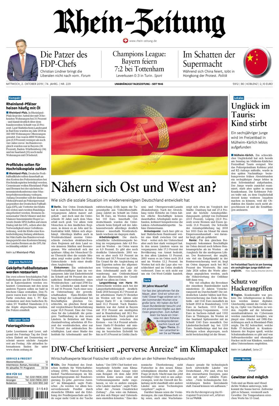 Rhein-Zeitung Koblenz & Region vom Mittwoch, 02.10.2019