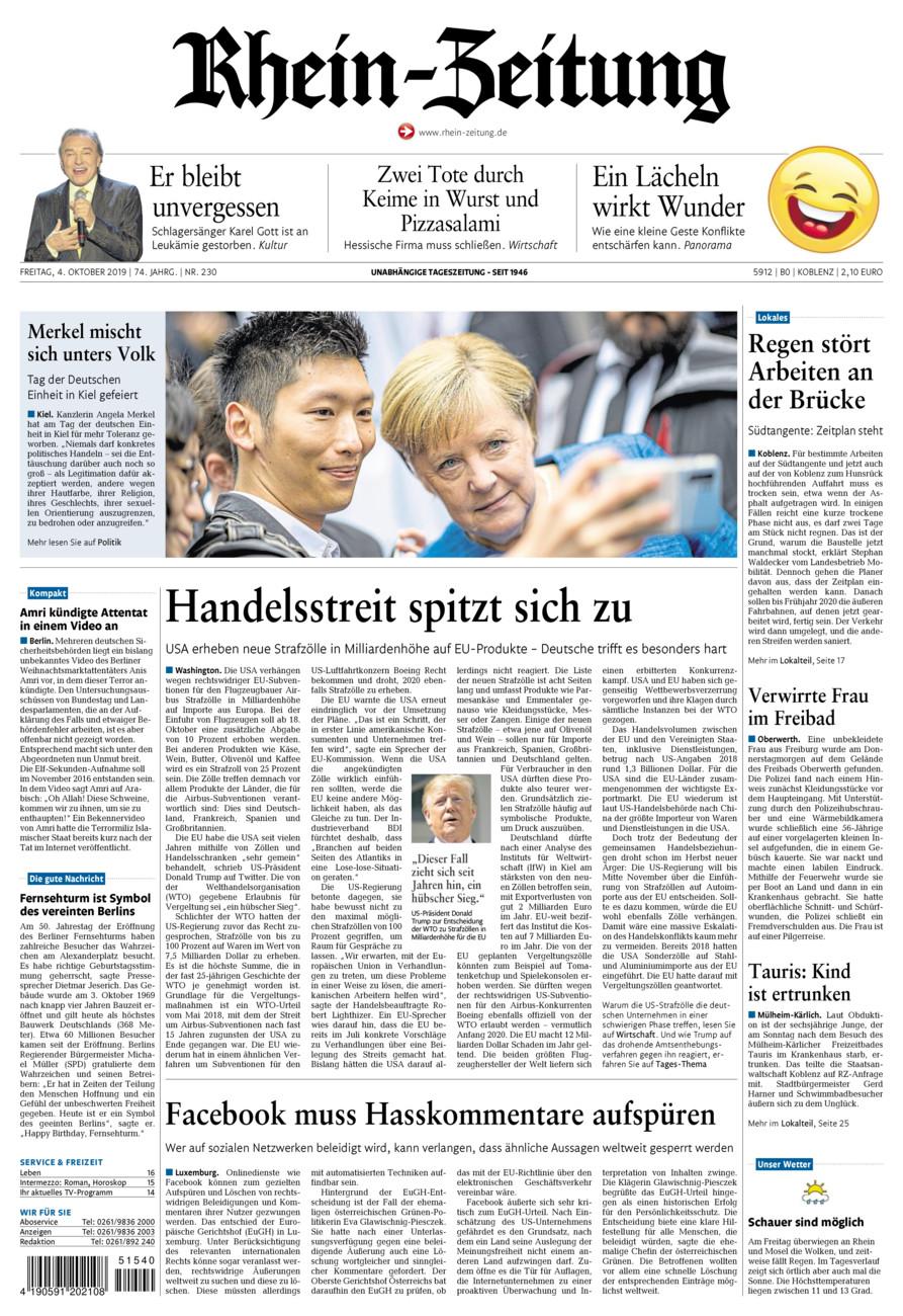 Rhein-Zeitung Koblenz & Region vom Freitag, 04.10.2019